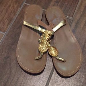 Lilly Pulitzer Gold Pineapple Sandals